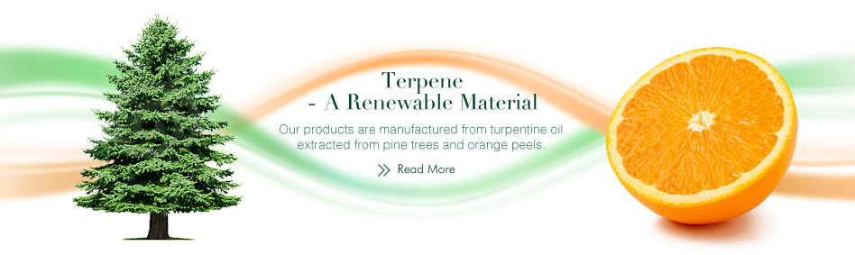 Terpene - A Renewable Material. Our products are manufactured from turpentine oil extracted from pine trees and orange peels.